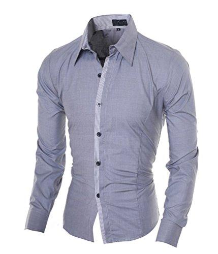 Ghope Homme Chic Fashion Chemise de Loisir Manche Longue Shirt Moulée Couleur Contraste Gris