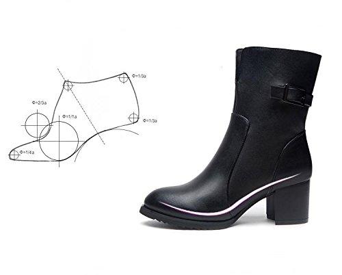 Europe et Amérique Vêtements pour femmes ou fillettes Bottes courtes En automne et en hiver Bottes Martin Bottes en cuir black winter