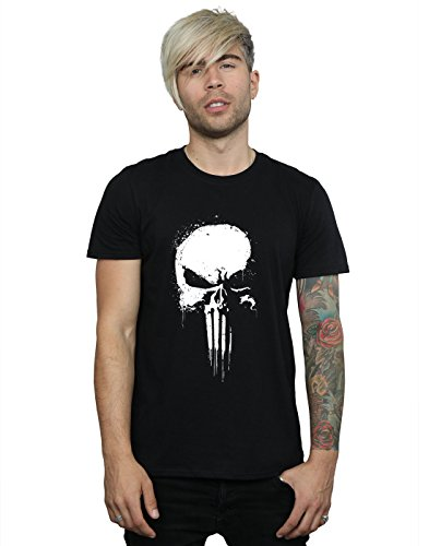 Marvel Herren Punisher Spray Skull T-Shirt Large Schwarz