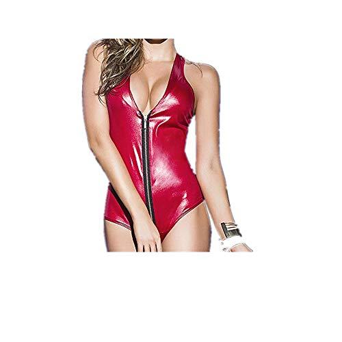 Lialbert Damen Body Sexy Lack Leder Bodysuit, Reißverschluss Jumpsuit Overall Kostüme Wetlook Sexy Glänzenden Dessous Ouvert Body - Günstige Clubwear Kostüm