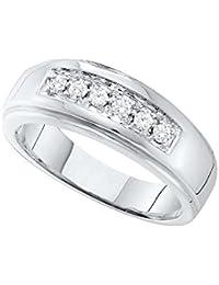 14 kt oro blanco sola fila de diamantes redondos para hombre pulido boda banda anillo 1
