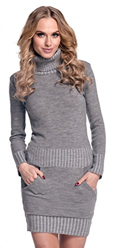 Glamour Empire. Damen Strickkleid Minikleid mit Stehkragen und Tasche vorne. 178 (Grau, EU 36/38, ONE SIZE)