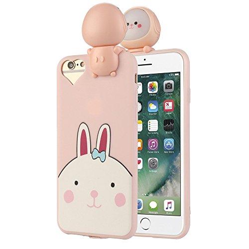 Xshuai Cool Design 150mAH Selbstauslöser Portable LED lächelnd Gesicht Kamera TPU Fall für Iphone7 4,7 Zoll (Rosa / Gelb) (Rosa)