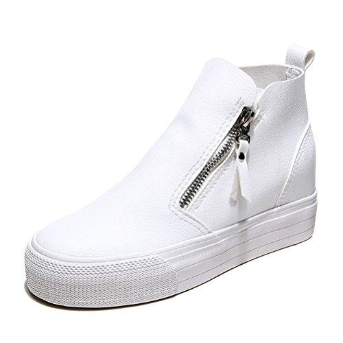 Herbst Damen Atmungsaktiv Rund Zehen Slip On Reißverschluss Flach Innenaufzug Sneakers Weiß