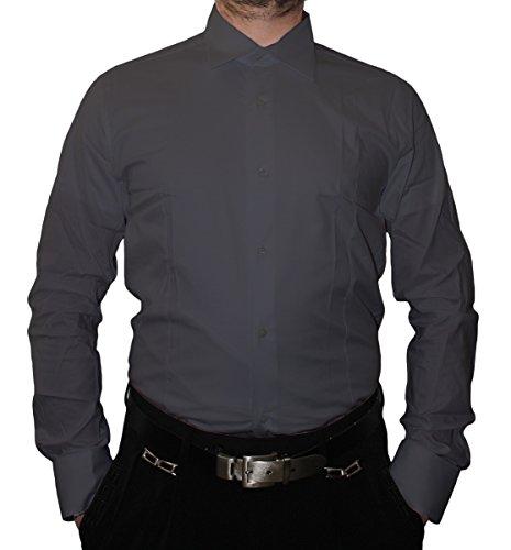 Designer Herren Hemd Slim Fit tailliert klassischer Kragen Langarm Bügelfrei viele Farben Slimfit Bodyfit Grau