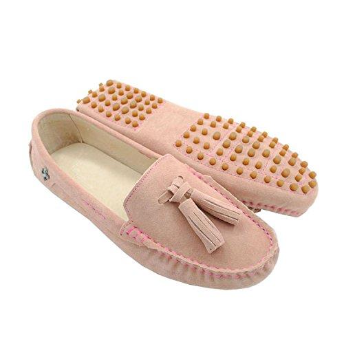 Minitoo Donna Slip-on in pelle scamosciata con lacci, Scarpe casual guida Loafer Pink