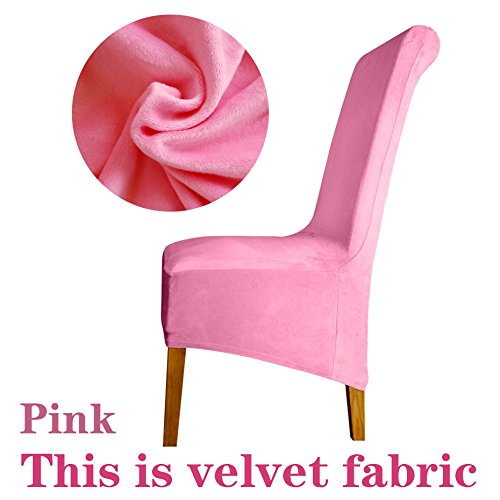 Cover Sitzbezüge Stuhlhussen Restaurant Hotel Party Bankett Velvet pink XL Sizes ()