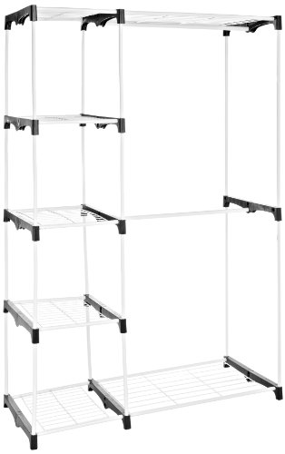 AmazonBasics Freistehender Kleiderschrank / Kleiderständer, mit zwei Kleiderstangen, Weiß