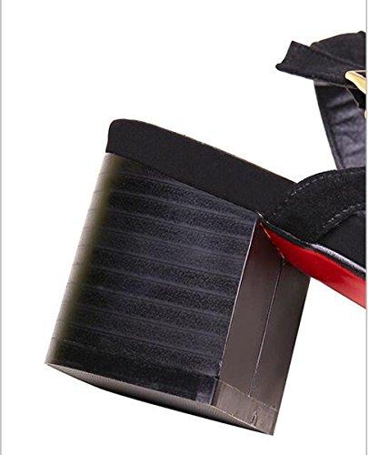 Beauqueen Sandali traspiranti Cinghie di caviglia classiche 5cm Scarpe da ginnastica delle scarpe da donna Open Toe Women's Size EU Size 34-39 Black