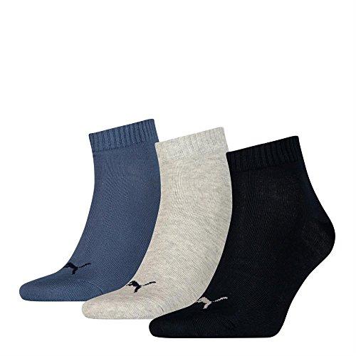 6 Paar Puma Sneaker Quarter Socken Unisex Invisible 251015, Gr. 43-46, blau_grau_dunkelblau_532