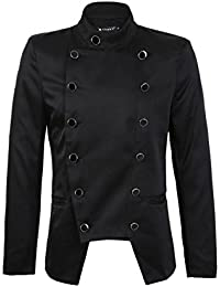 Sourcingmap Men Convertible Collar Double Breasted Long Sleeve Pockets Blazer