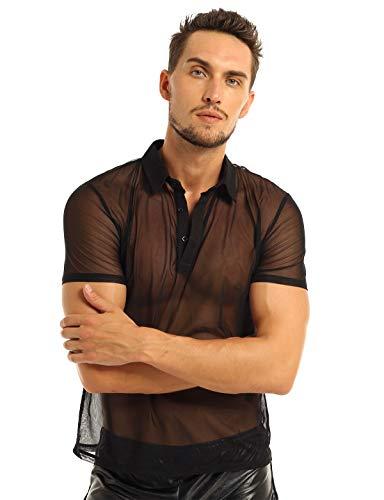 CHICTRY Herren Polo Shirt Durchsichtig Unterhemd Tops Sommer Reizwäsche Kurzarm Muskelshirt Gogo Party Clubwear Schwarz X-Large