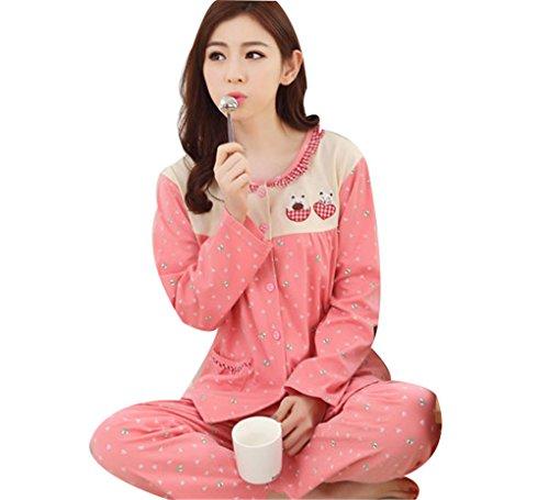 Naughtyspicy pigiama da donna / pigiama di stampa carina di cartone animato / completo di primavera e autunno Rosa-giallo / Bear-cat