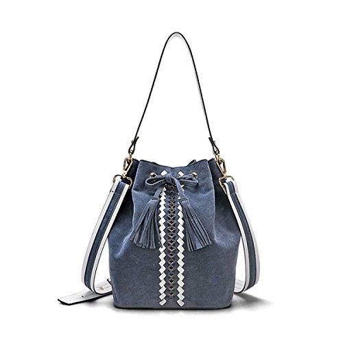 24d77a2981e94 Retro Quaste Eimer Tasche Damen Wild Peeling Breiter Schultergurt Schulter  Umhängetasche Mode Lässige Handtasche Blue