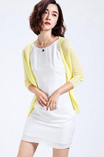 Smile YKK Cardigan Uni Transparent Couleur Bonbon Manches Longue de Soleil de Beach Pour Femme Rose Bleu