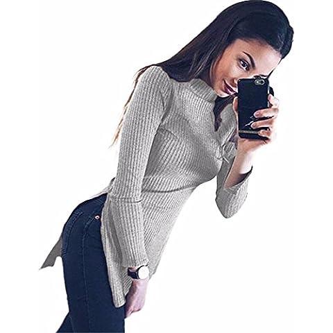 Xinantime Maniche Lunghe Cappotto Casuali Collo alto Donna Split Tops Sweatshirt (grigio, M)