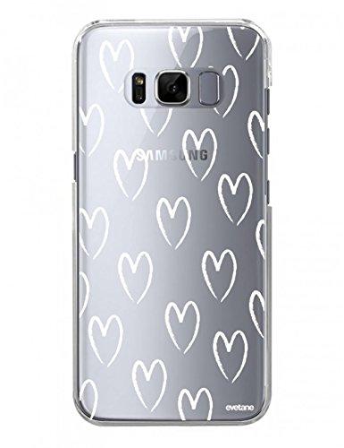 Evetane Coque Compatible avec Samsung Galaxy S8 Plus Transparente Rigide Solide C?urs Blancs Ecriture Motif Tendance