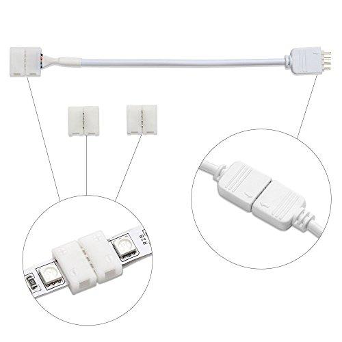 Led Streifen Connector VILSOM für 10MM 4-poliger 5050 RGB LED-Streifen,Verbinden und Erweitern für LED-Lichtleisten (1 x Anschlusskabel + 2 x 4-polige Steckverbinder)