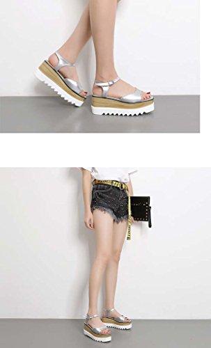 SHEO sandales à talons hauts Sandales à grosse épaisseur de la tête carrée de dames avec des sandales décontractées ( Couleur : Silver , taille : 37 ) Silver