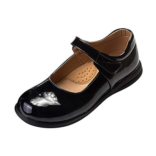 Tenthree Mädchen Halbschuhe Ballerinas Schuhe - Kinder Ziemlich Lackleder Mary Jane Prinzessin Schuluniform Süss Flach Ballet Lässige Pumps Schwarze