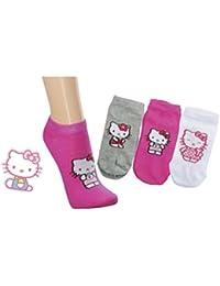 Kinder-Sneakers-Söckchen, 'Hello Kitty', 2er Pack, Größe:31-34, Farbe:grau/weiß/pink