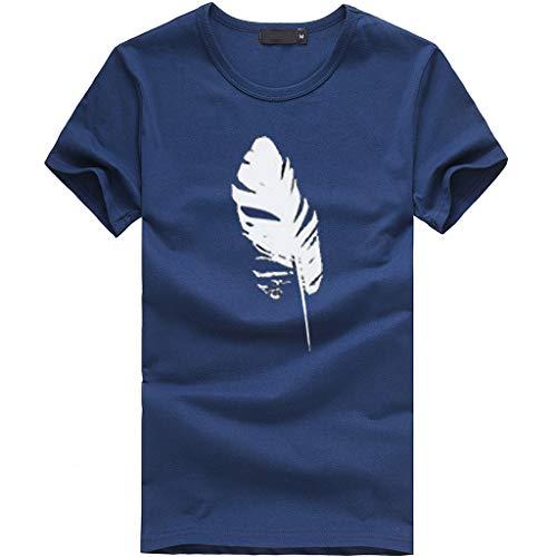 OSYARD Damen Frauen Tops Shirts Blusen,Damen Kurzarm T-Shirt mit Blattdruck Lässiges Rundhals Ausschnitt Lose Bluse Hemd Oversize Sweatshirt Oberteil Tops
