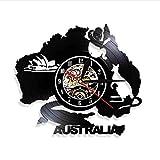 clockfc Australien Symbole Wandkunst WanduhrKänguru Koala Krokodil Australien Charaktere Schallplatte Wanduhr