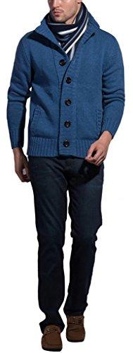 Sawadikaa Hommes Bouton Cardigan Chandail Sweater Sweatshirt Slim Fit Veste en Maille Pulls et Gilets Bleu