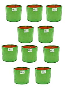 BIO Blooms Agro India PVT LTD100% UV Treated Plastic Grow Bag for Terrace Gardening - Grow Vegetables, Fruits, Onion & Other Leafy Vegetables, 12 x 12 inch - Green, Pack of 10