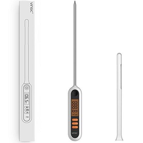 Fleischthermometer Vinsic BBQ Grill Thermometer mit 5.9 inch Fühler Bratenthermometer zum Kochen Tragbar Küchenthermometer Ideal für Lebensmittel, Kochen, Fleisch, Grillen, Braten Weiß - Digitales Braten-thermometer