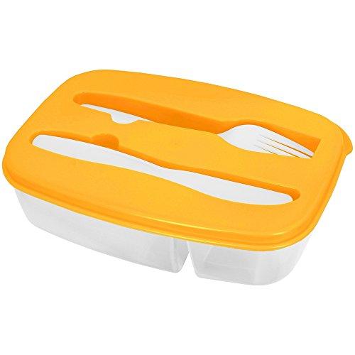 Promobo -Lunch Box Panier Repas Boite Alimentaire Deux Compartiments Et Couverts Orange