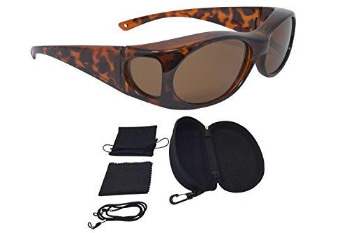 Sonnenüberbrille Überzieh Sonnenbrille FASHION EDITION polarisiert UV 400 (Leopard)