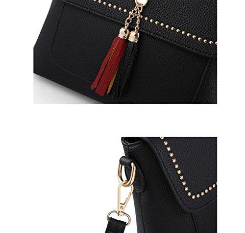 2017 Frau Troddel Schultertasche Messenger Tasche Portable Kleine Quadratische Tasche Reißverschluss Tasche A4