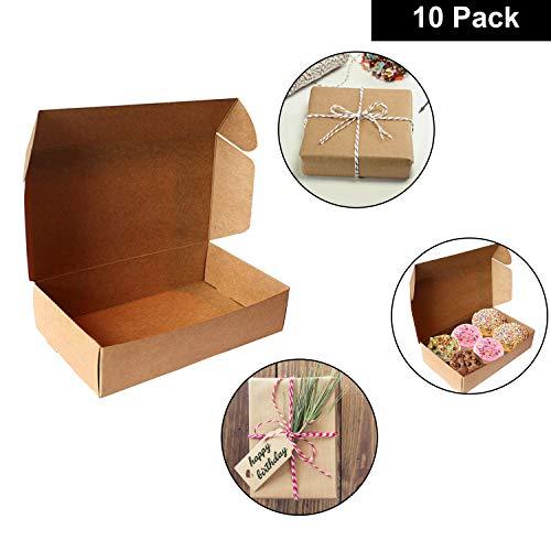 Kurtzy (10 Stück) Braune Kraft Geschenkboxen - 19 x 11 x 4.5cm Kraft Faltschachtel Braune Boxen Geeignet für Party, Hochzeit - Aufbewahrungsbox für Kuchen, Kekse, Schmuck und Geschenke