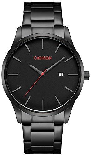 Herren Uhren, Herren-Armbanduhr mit Edelstahl Armband Schwarz