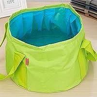 Portable Outdoor 600D Oxford Cloth Fishing Water Basin Travel Camping Washbasin Bucket Sink Bag, Color:Green