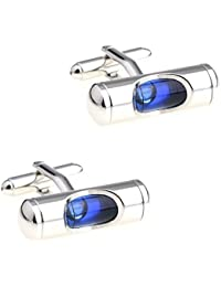 CIFIDET Gemelos Mancuernas azules del nivel del aire de la pendiente Forme la joyería de la camisa de los hombres con…