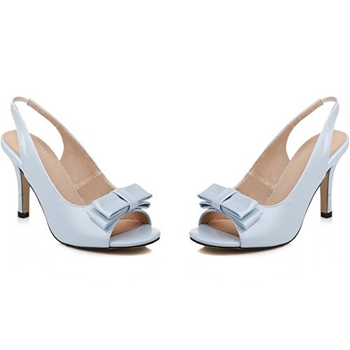 TAOFFEN Damen Mode-Event Schuhe Peep-toe Schlupfschuhe Open Back High Heel Bogen Sandalen Blau