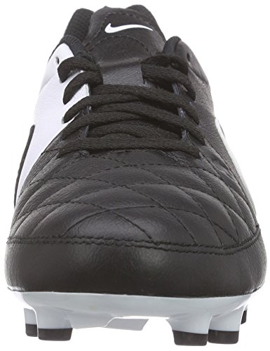 Nike Tiempo Genio Leather FG Mixte Enfant Chaussures de Football Noir/Blanc