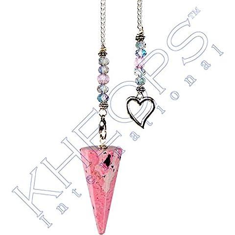 Kheops International-Pendolo esagonale, rodonite, a forma di cuore, 61068)