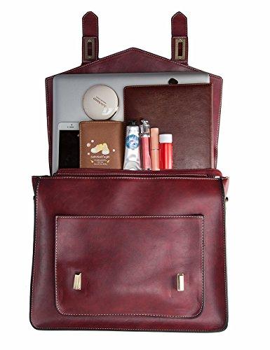 ECOSUSI Borsa Tracolla Donna Borsa Messenger Donna Borsa Vintage per Lavoro Rosso