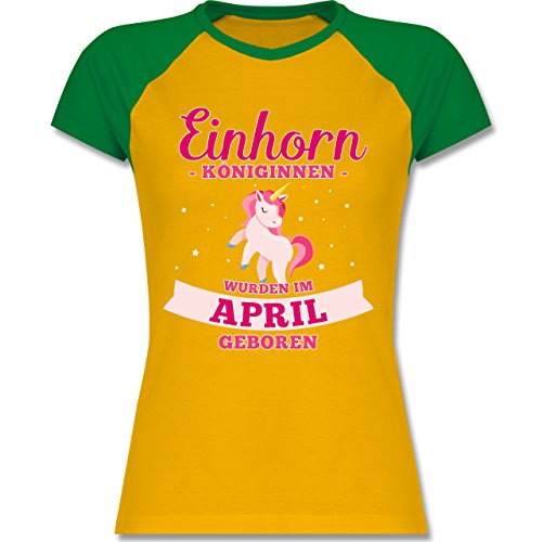 Shirtracer Geburtstag - Einhorn Königinnen Wurden IM April Geboren - Zweifarbiges Baseballshirt/Raglan T-Shirt für Damen Gelb/Grün