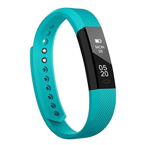 Fitness Armband Lintelek Fitness Tracker wasserdicht Fitness Uhr Aktivity Tracker Schrittzähler Schlaf Monitor Pedometer Kalorie Anrufe/SMS/Whatsapp Vibration für Android und IOS Grün (Herunterladen Whatsapp)