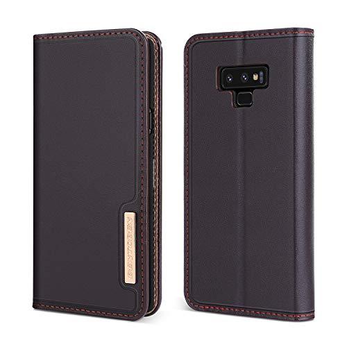 BENTOBEN Galaxy Note 9 Hülle, Samsung Note 9 Lederhülle, Note 9 Echtleder Handytasche mit 3 kartenfach Flip Case Schutzhülle Handyhülle für Samsung Galaxy Note 9 (6,4 Zoll) Braun