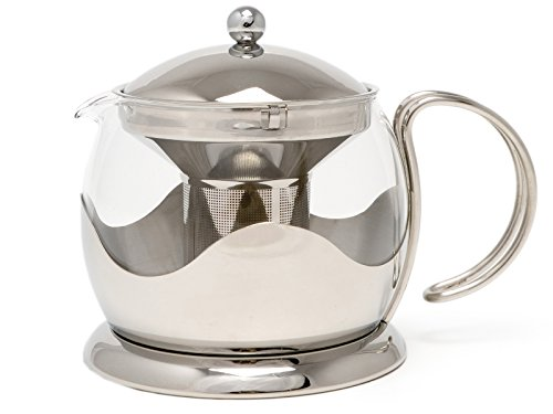 La Cafetiere Stainless Steel Le Teapot Glass/silver 2 Cup With Infuser Basket
