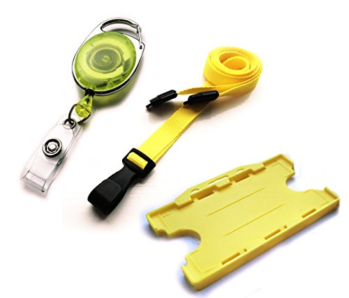 ACB prempackv58PREMIER doppelseitig ID Card Badge Holder mit j-clip ID Umhängeband Pack–gelb - Id-abzeichen-träger