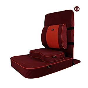 FOM (Friends of Meditation) extra großer Entspannender Meditations und Yoga Stuhl mit Rückenstütze und Meditationsblock kastanien