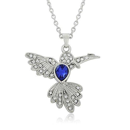Skyrim New Ocean Blau Kristall Stein Anhänger Kolibri Natur Halskette für Tierliebhaber