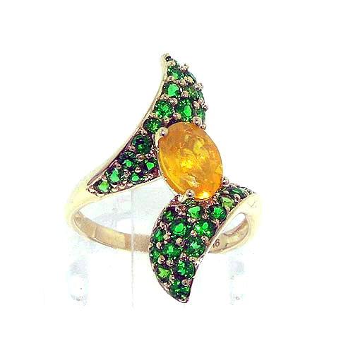 Luxury Elegant Womens 9ct Yellow Gold Large Honey Opal & Tsavorite Ring