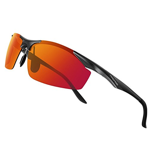 PAERDE Herren Sportbrille Polarisierte Sonnenbrille Fahrerbrille 2206,Schwarz-Rot